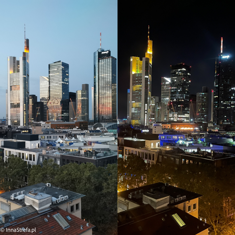 Wieżowce Frankfurt w dzień i w nocy